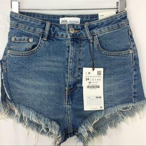 Zara Ripped Denim Hi-Rise Shorts|Size 2